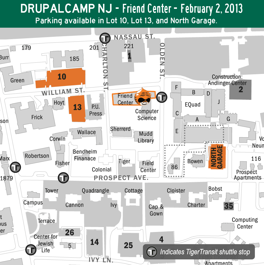 Parking map, DrupalCamp NJ, Princeton University campus